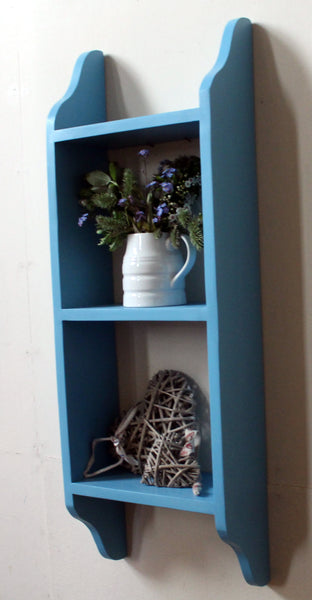 wall mounted traditional three tier wooden shelf
