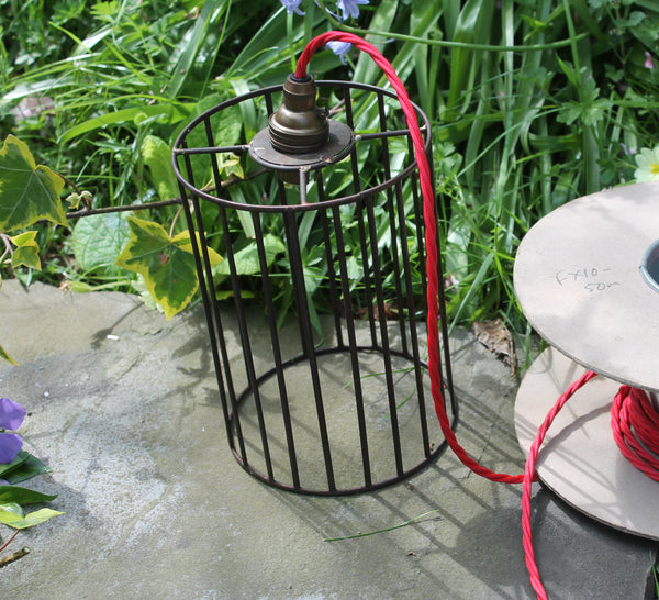 industrial lampshade with red cable