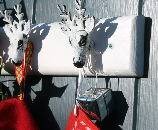 Reindeer head stocking hanger coat rack
