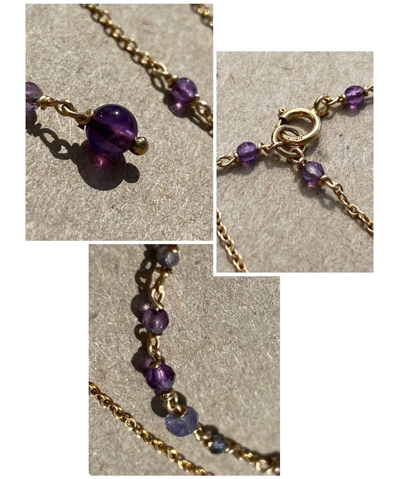 details of the amethyst gemstones on the body chain
