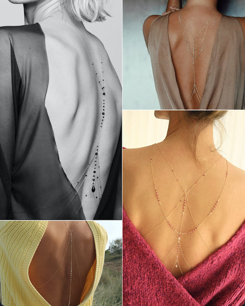 how to wear a body chain with a backless dress, jumpsuit or top