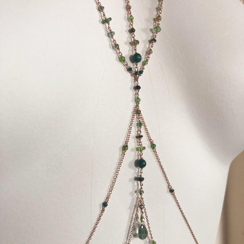 green gemstone body chain