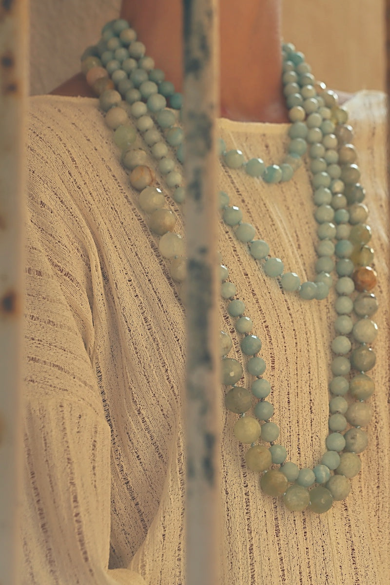 layer aquamarine with amazonite necklaces