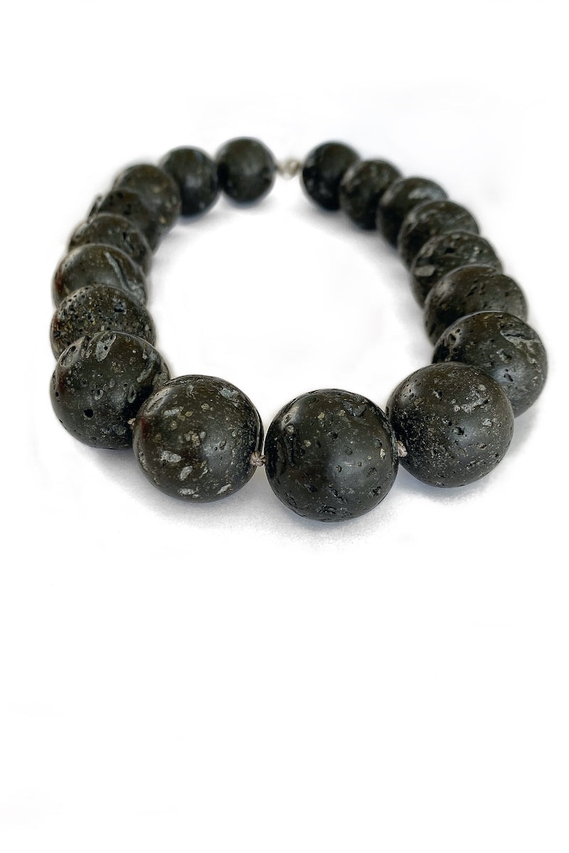 luxurious black lava gemstone necklace