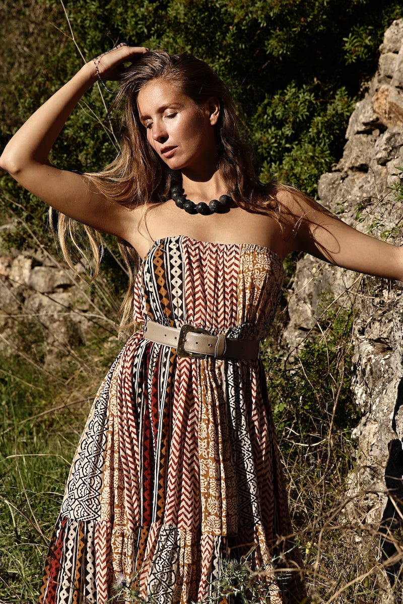boho chick outfit with chunky lava necklace