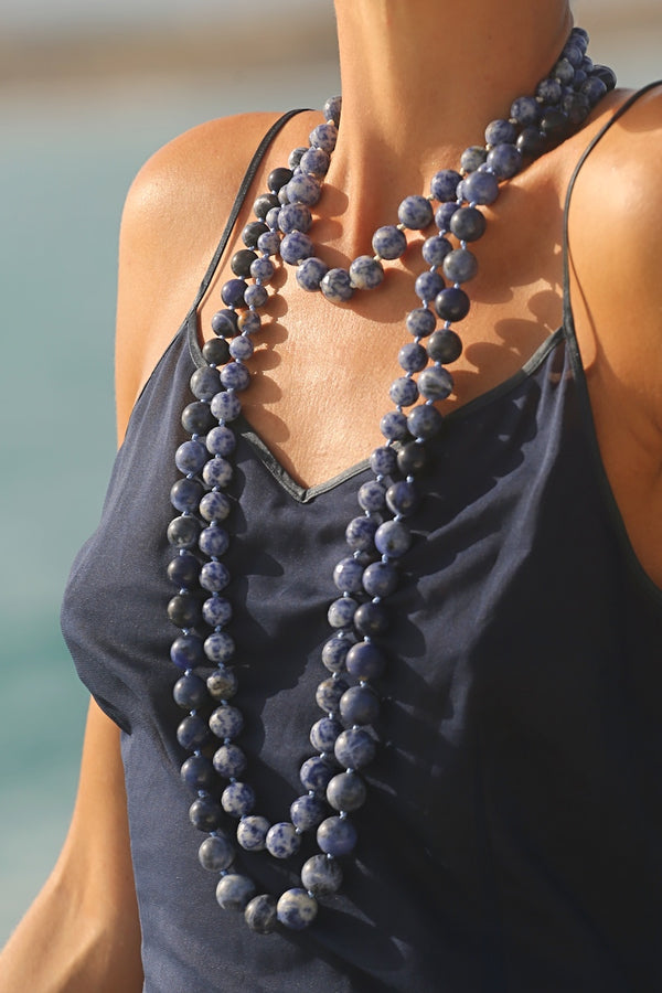 layer long sodalite necklace with blue gemstone necklaces