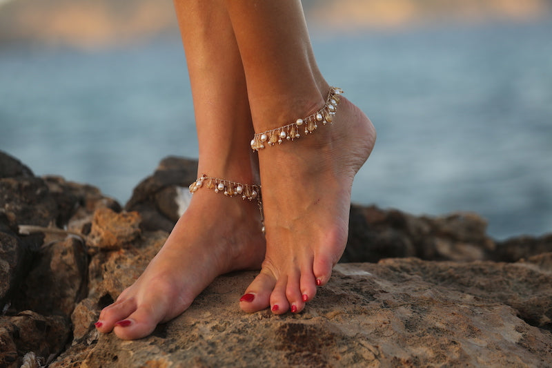 luxurious citrine and pearl anklet jewelry