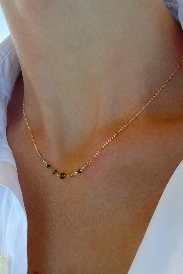 dainty green gemstone chain necklace