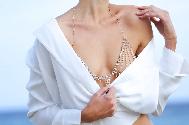 wear the Hippolite pearl bralette for your wedding day