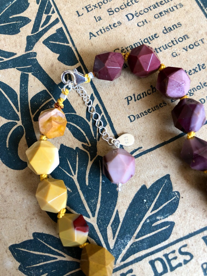 sterling silver closure of the mookaite gemstone necklace