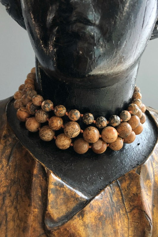 elegant and unique brown jasper gemstone chunky necklace choker