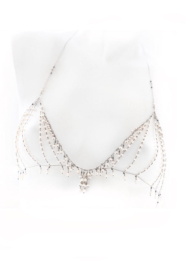 pearl gold bralette body chain jewelry