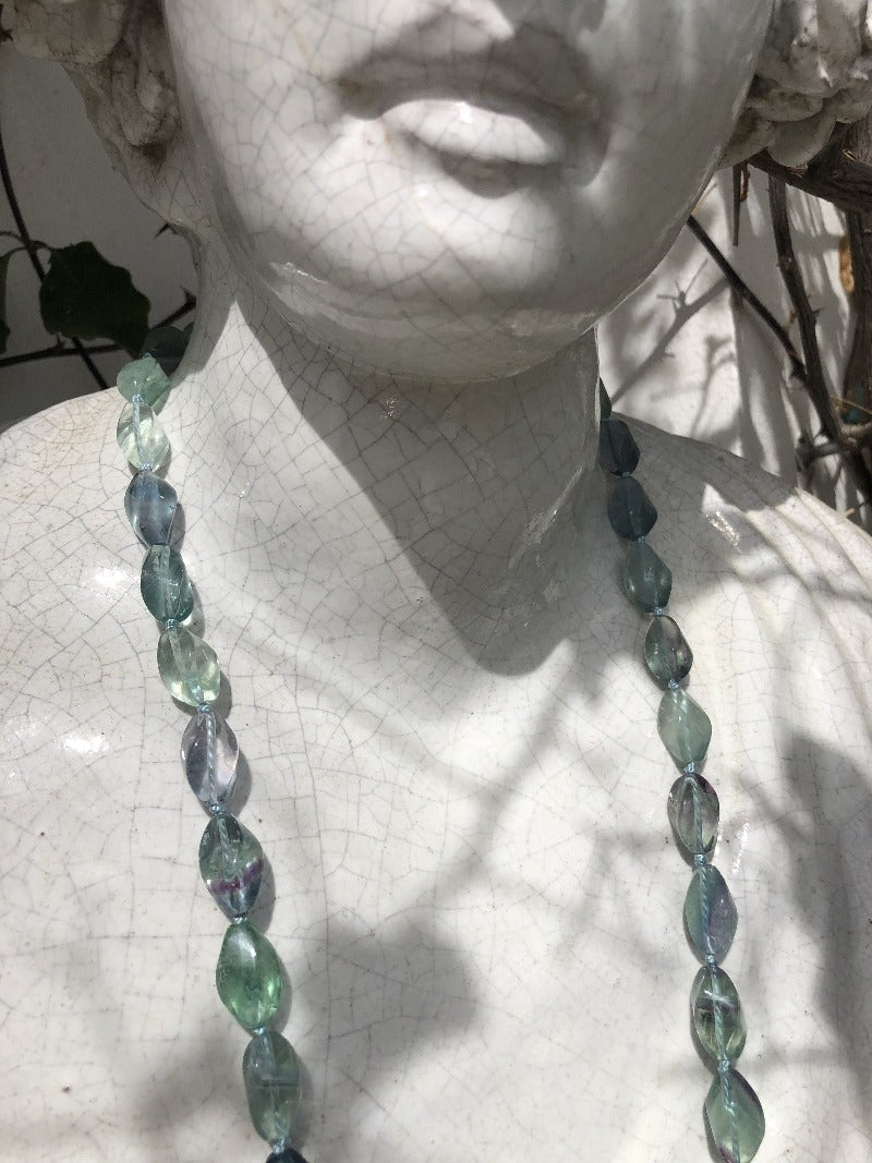 Fluorite long necklace oval shaped