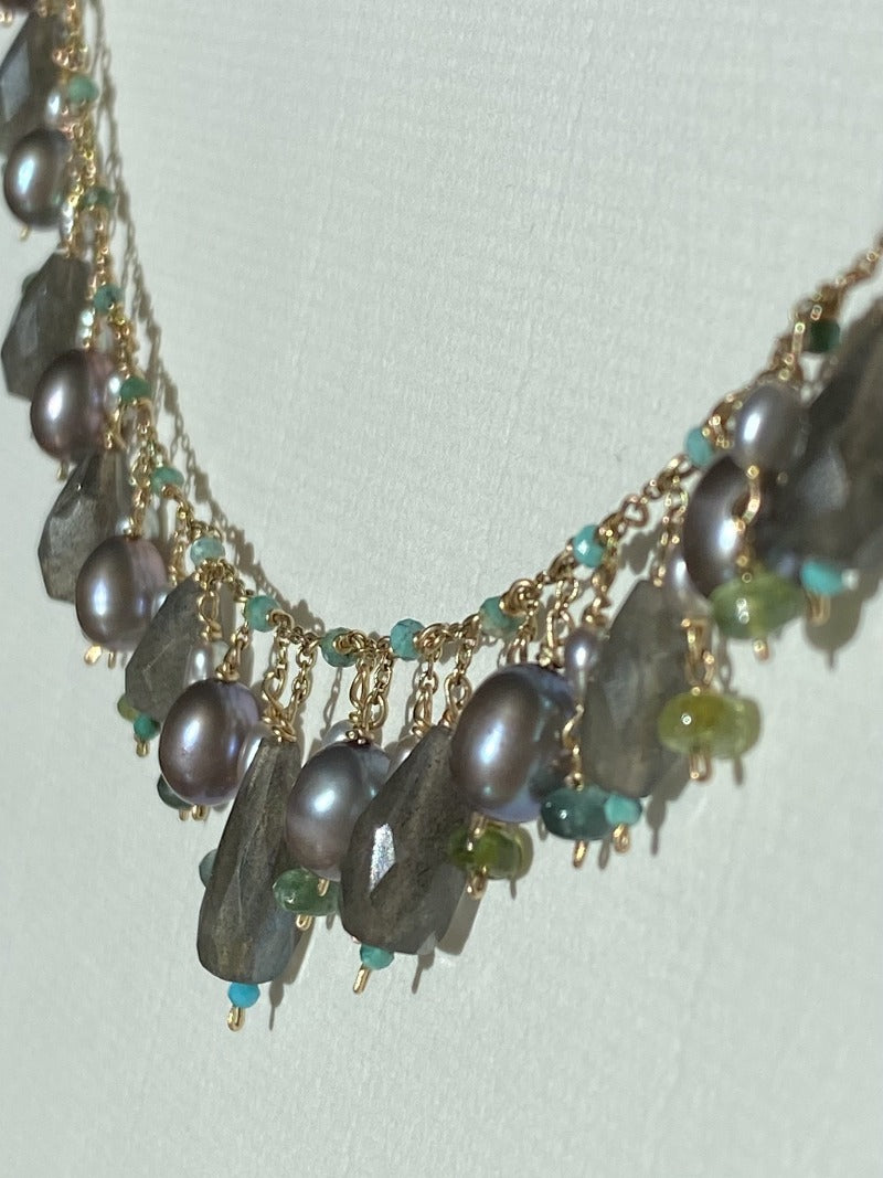 grey pearl necklace with turquoise and tourmalines