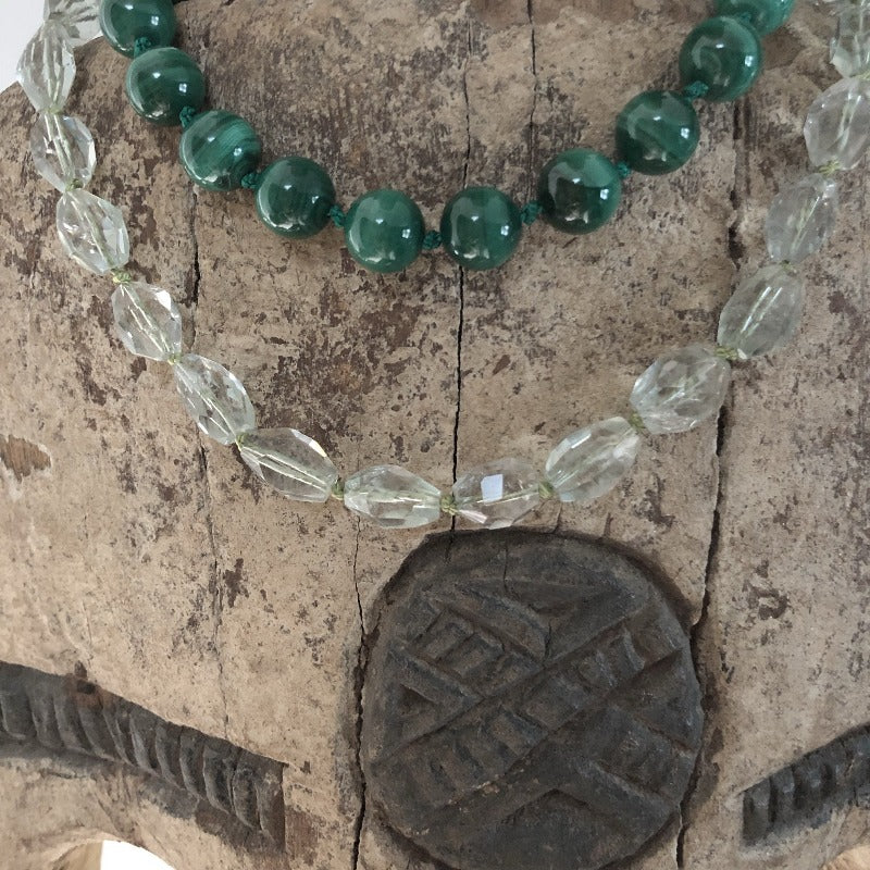 layer malachite gemstone with green amethyst
