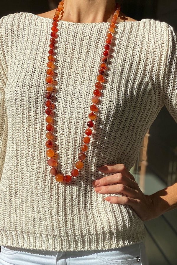 long beaded orange red carnelian necklace jewellery