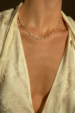 delicate pearl chain necklace to embellish your chest