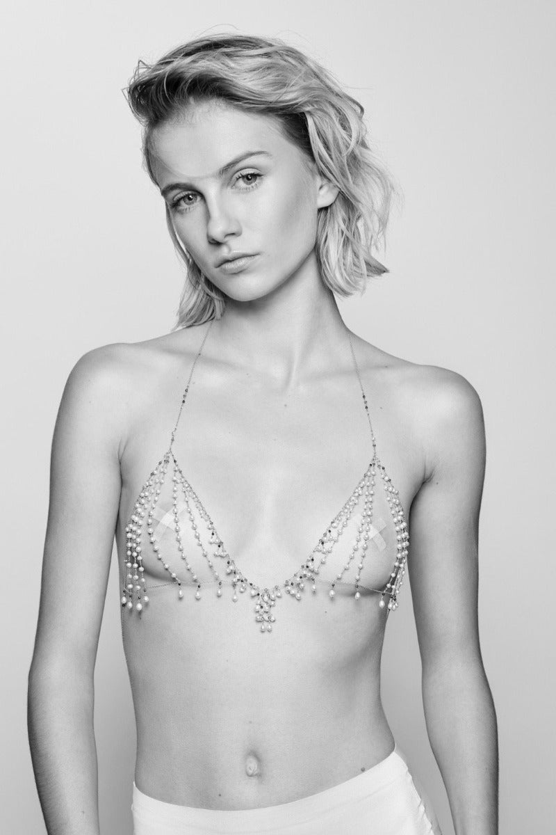 sensual and luxurious pearl bralette