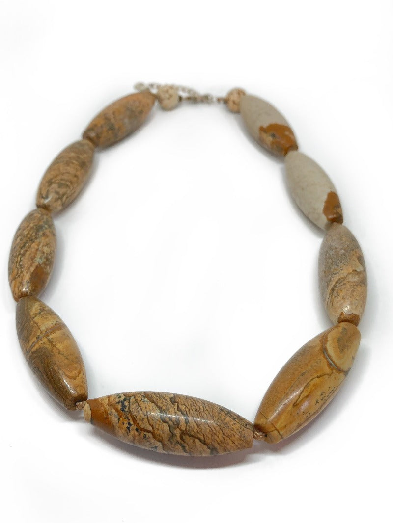 Large shaped wood jasper necklace