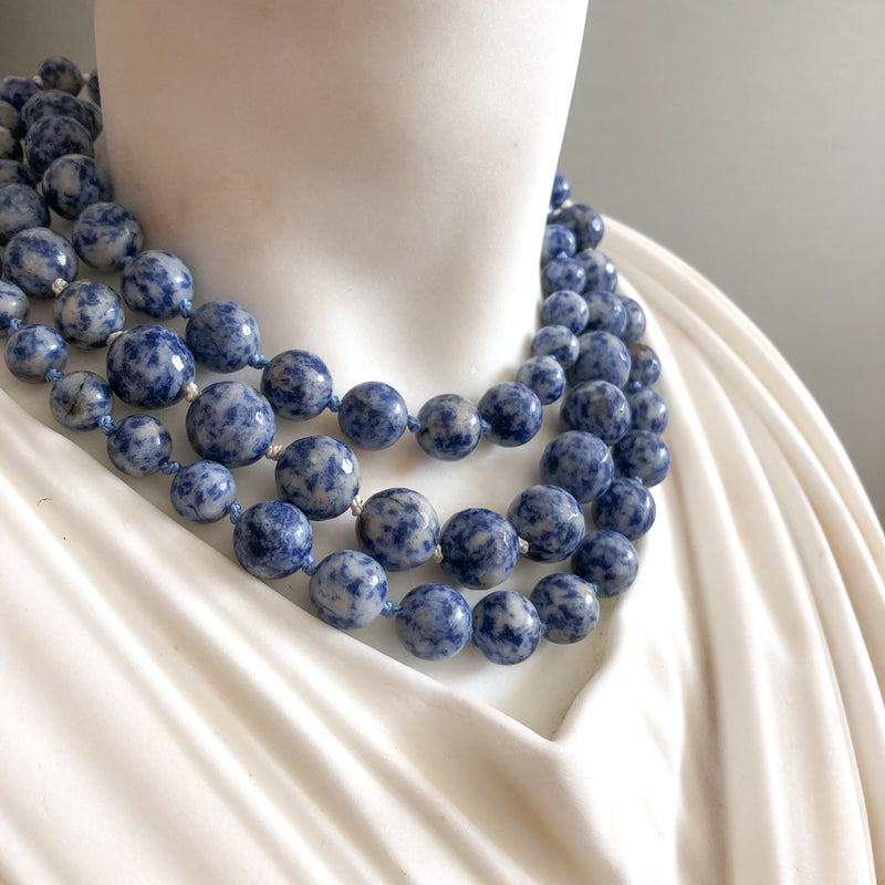 Sodalite gemstone long necklace