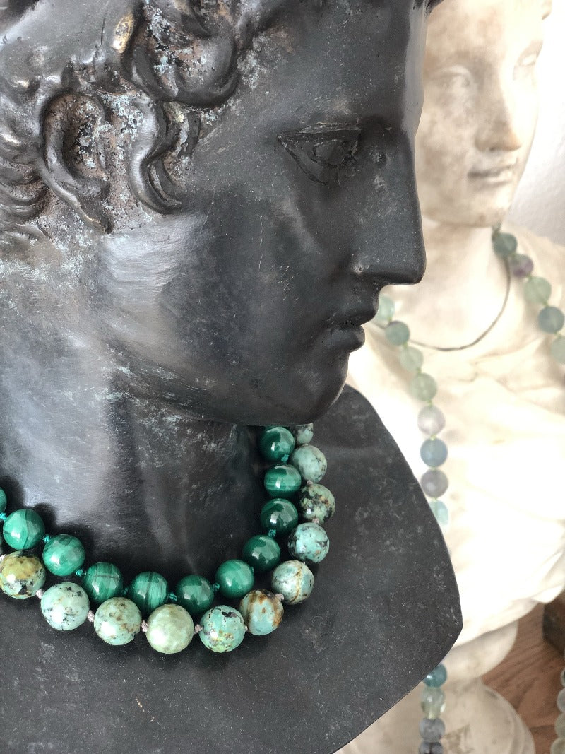 layer malachite with african turquoise necklace