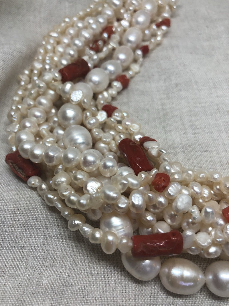 luxurious pearl and coral chocker necklace jewelry