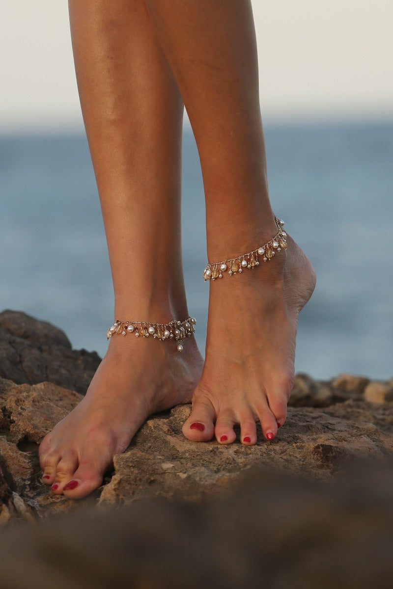 gold pearl anklet jewelry
