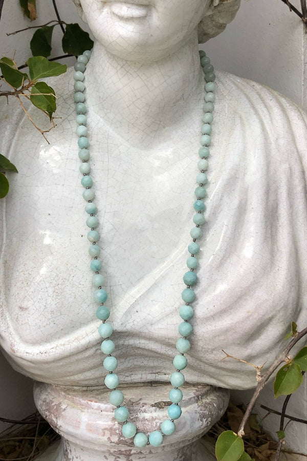 long beaded necklace with turquoise amazonite crystal gemsotnes