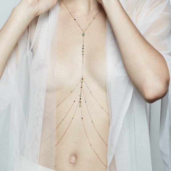 gemstone body chain jewelry
