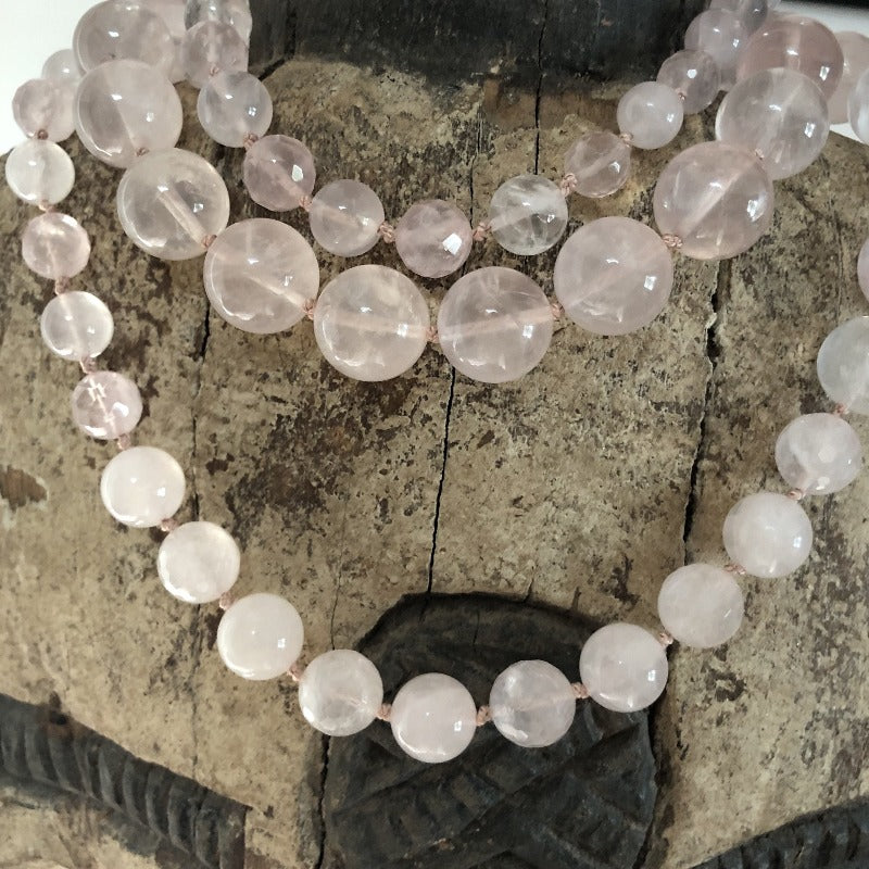wear several rose quartz gemstone necklace