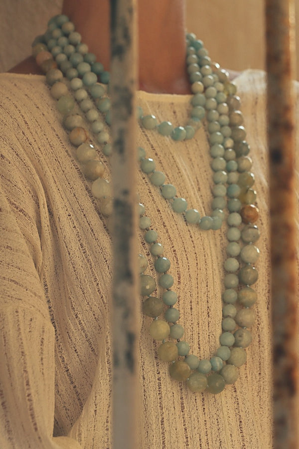 Amazonite long gemstone necklace