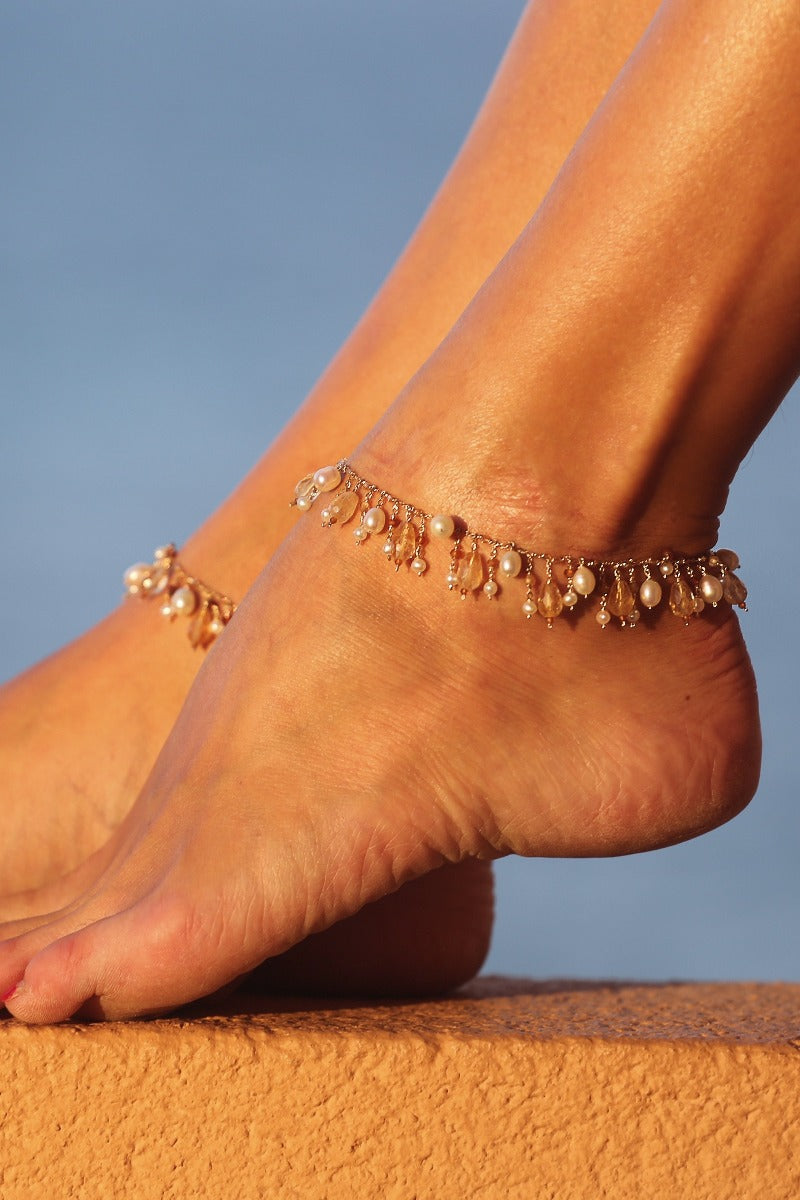 gold pearl anklet timeless and unique feet jewelry