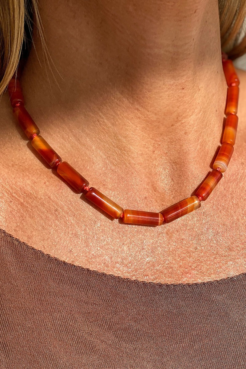elegant and timeless orange carnelian necklace