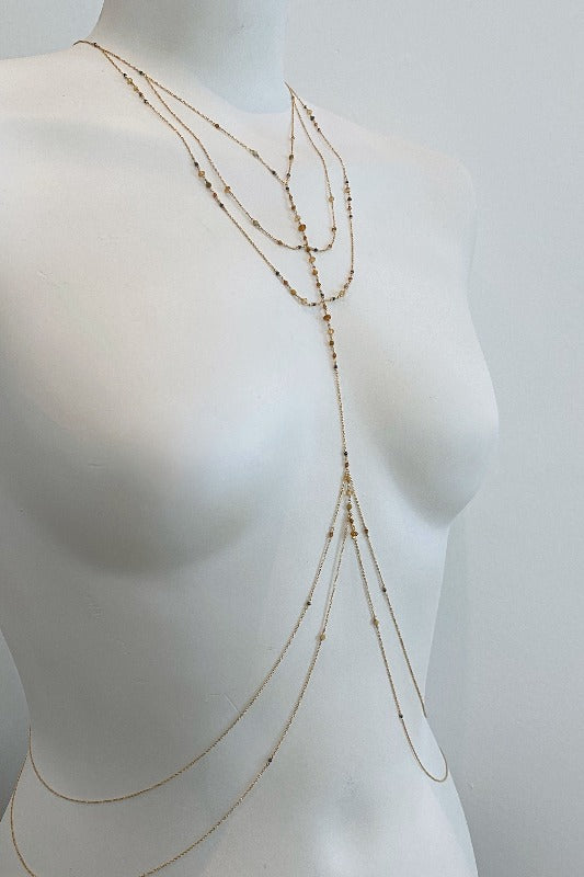elegant and feminine jewelry gift for her body chain