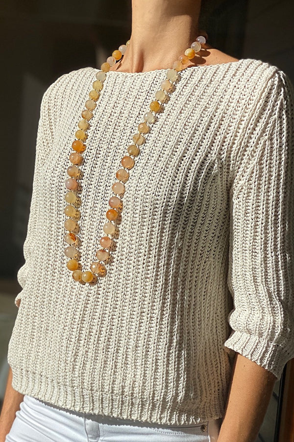 long beaded yellow and brown carnelian necklace jewellery