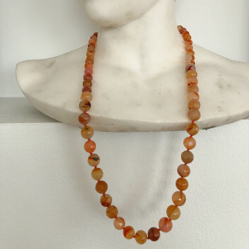 long carnelian gemstone necklace