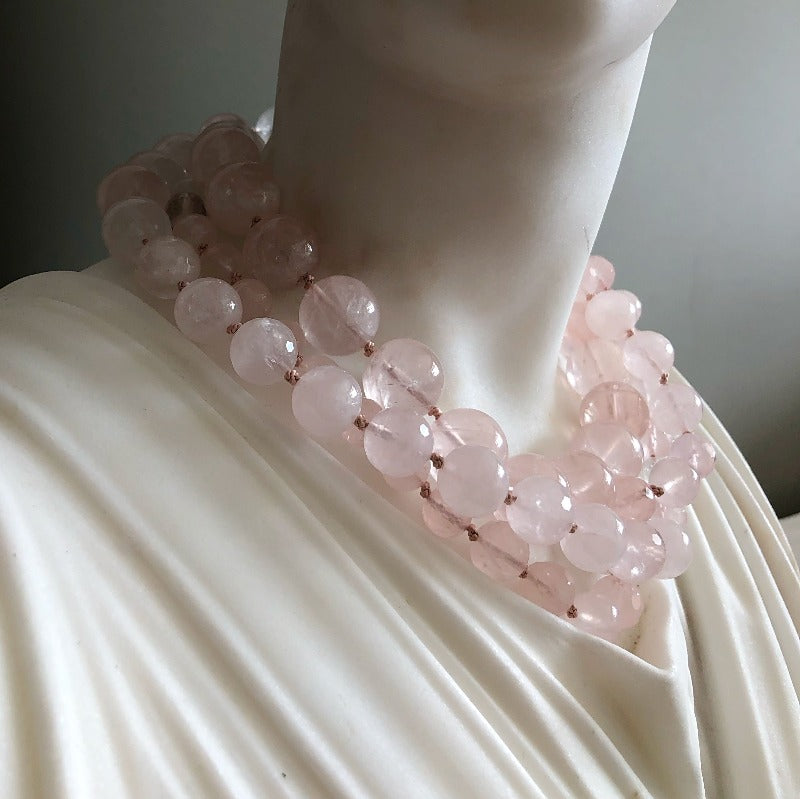 wear the rose quartz necklace in two rounds