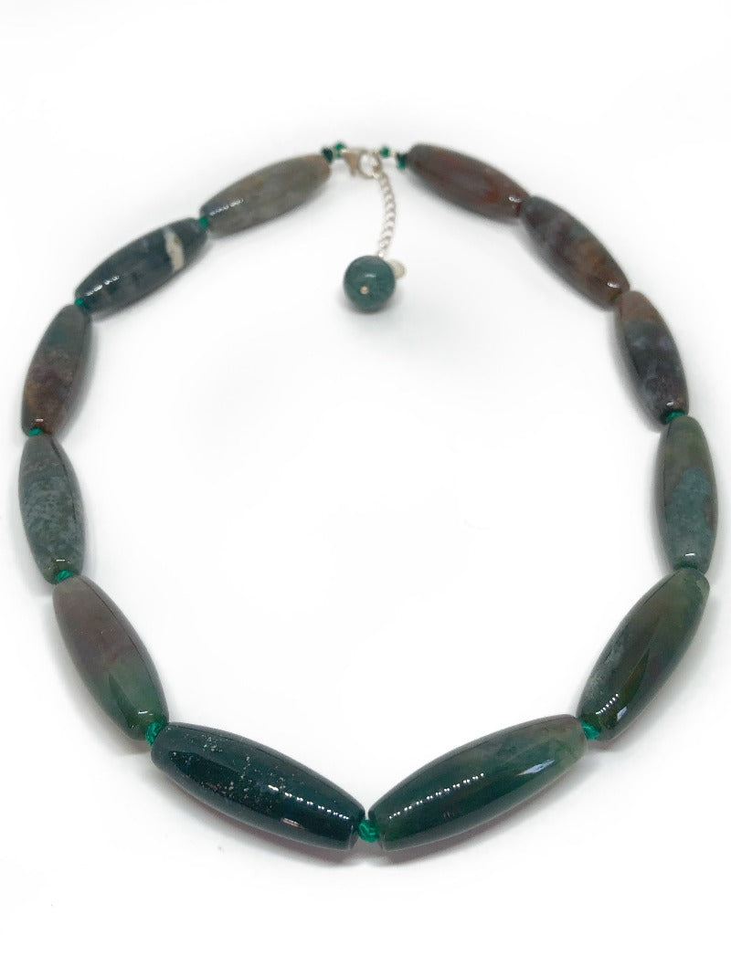 Large shaped Moss Agate necklace