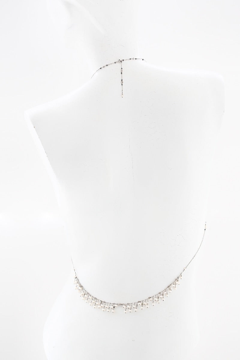 sensual statement pearl body chain necklace