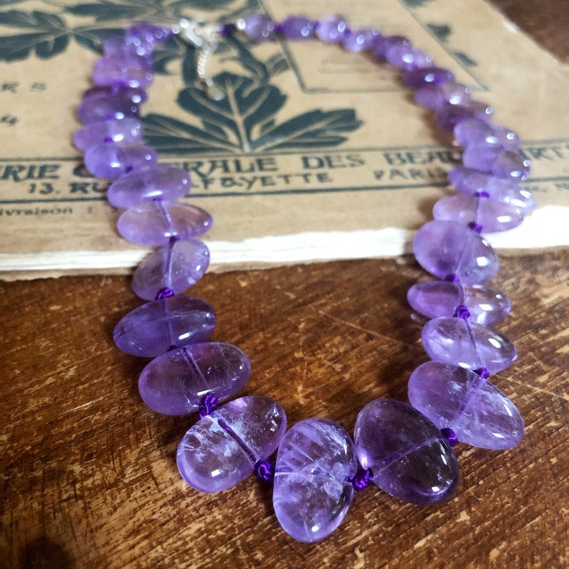 purple amethyst healing crystal necklace