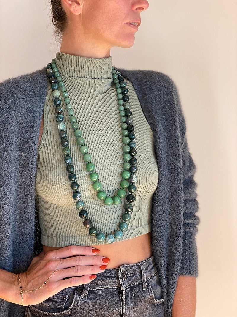 layer long beaded green crystal gemstone necklaces with dainty body jewelry