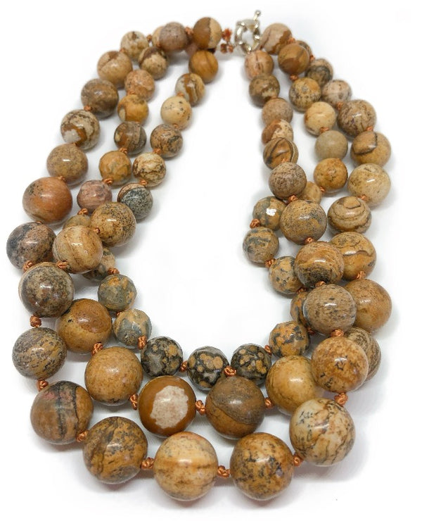 brown picture jasper necklace layered jewelry