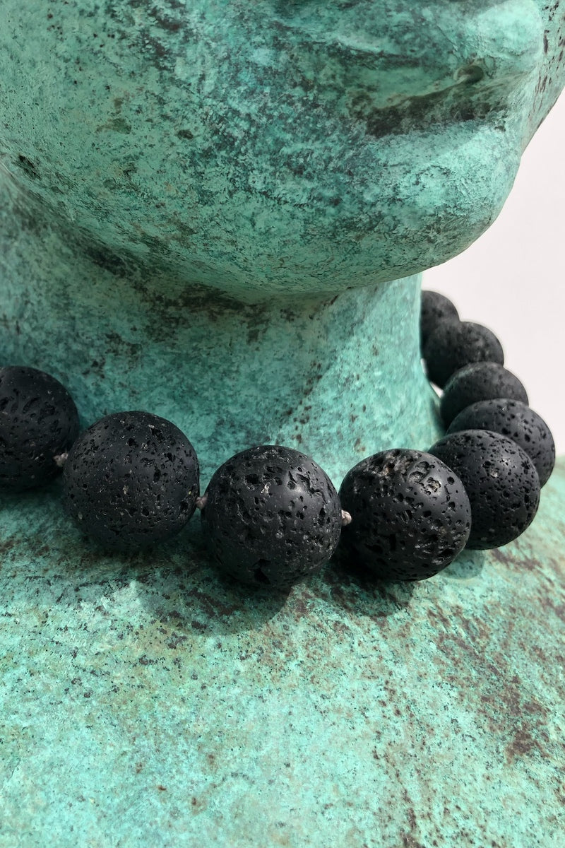 black lava gemstone necklace