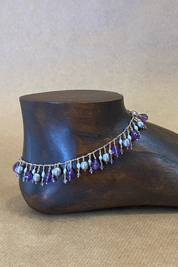 lela anklet with amethyst and gray pearls