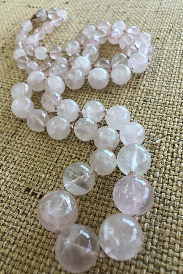 highly polished pink rose quartz necklace