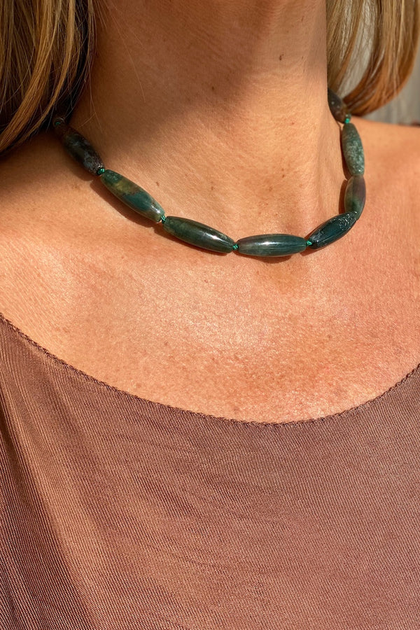 green moss agate gemstone choker necklace