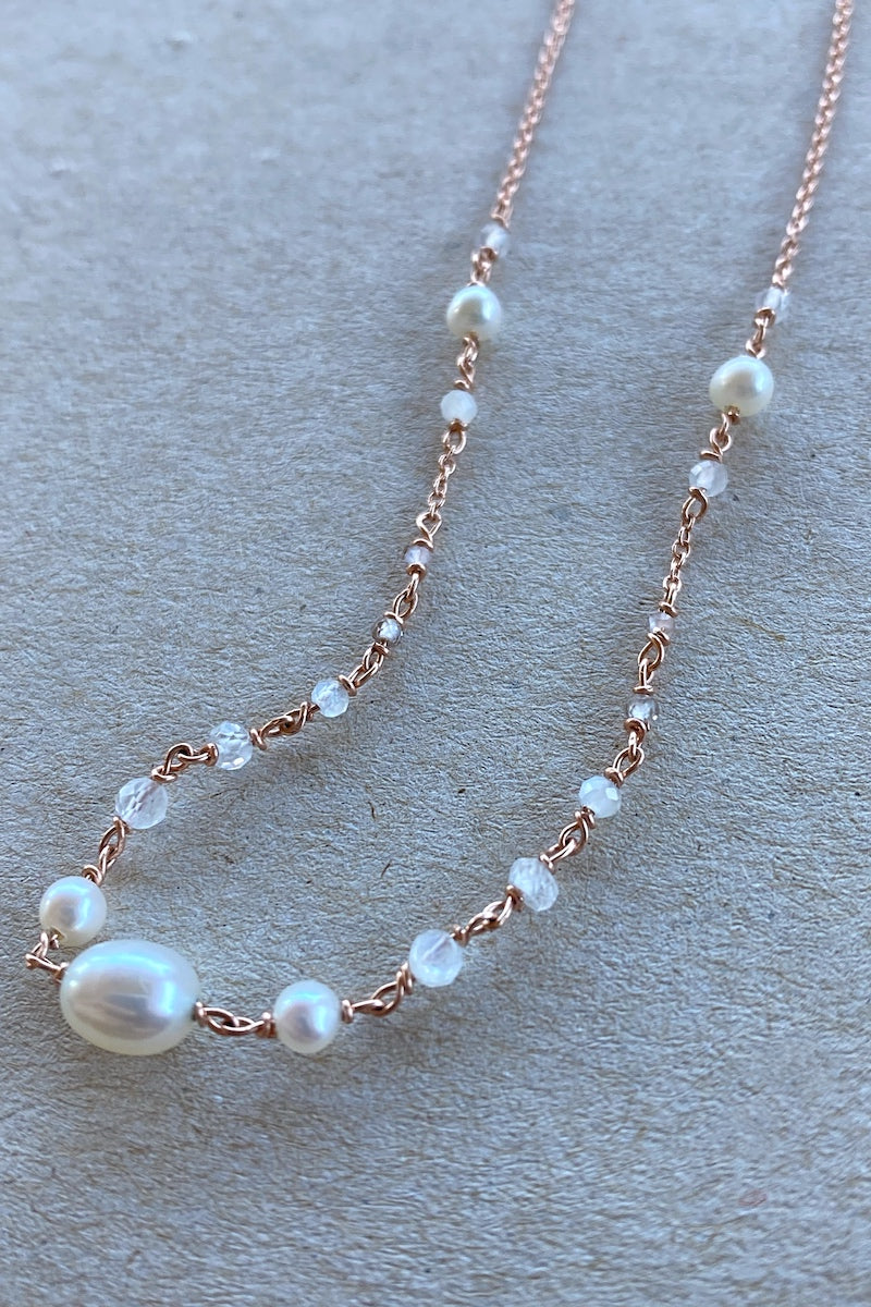 pearl and moonstone waist chain necklace