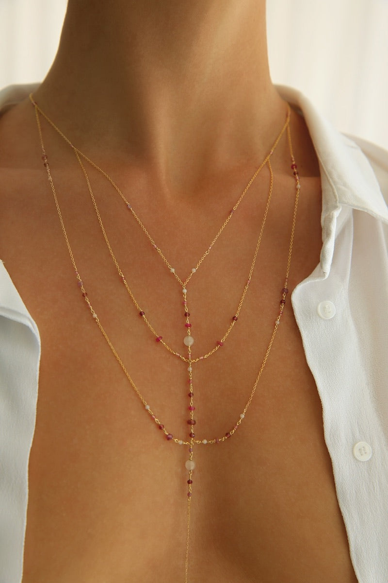 minimal and elegant pink body chain