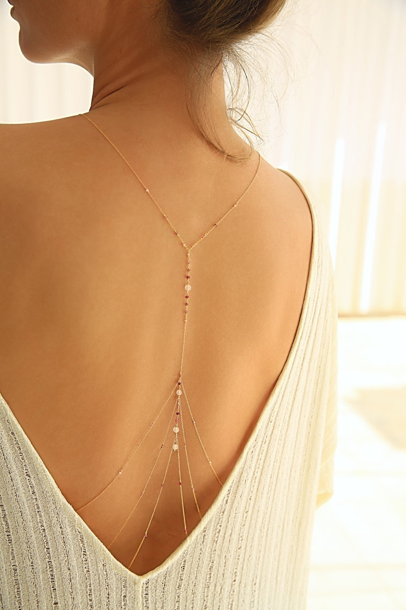 gold body chain to wear with an open back dress