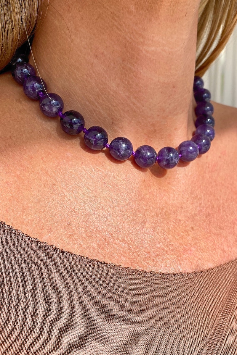purple amethyst gemstone necklace